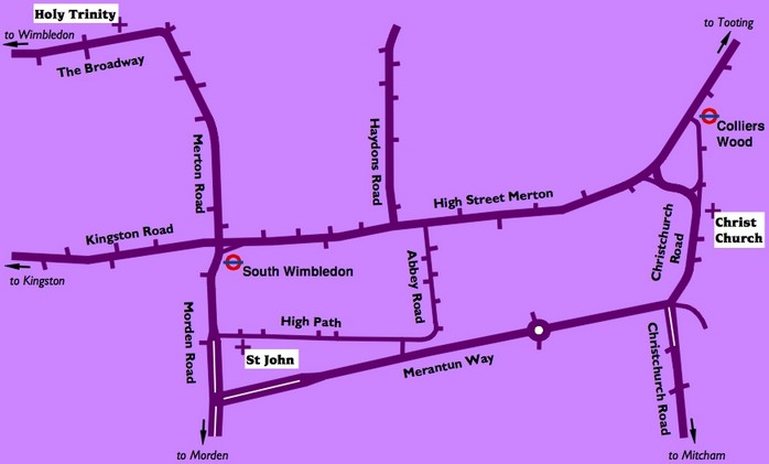 Street diagram of the three churches in the Merton Priory parish